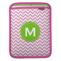 Pink White Monogram Chevron Pattern Sleeve For iPads