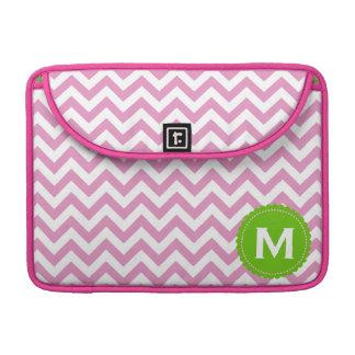 Pink White Monogram Chevron Pattern Sleeves For MacBook Pro