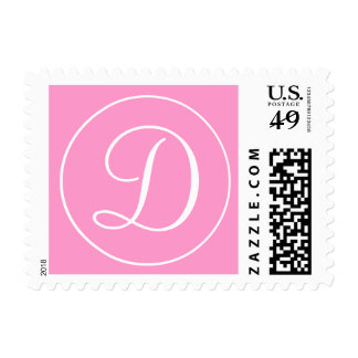 Pink White Monogram D Wedding Postage