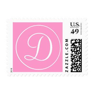 Pink White Monogram D Wedding Postage Stamp