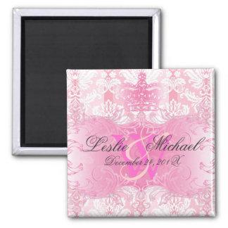 Pink + White Monogram Damask Wedding, Magnets