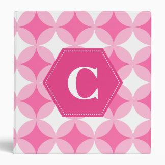 Pink White Monogram Pattern Binder