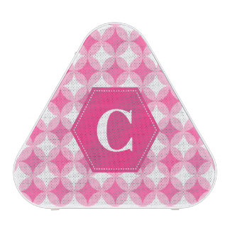 Pink White Monogram Pattern Bluetooth Speaker