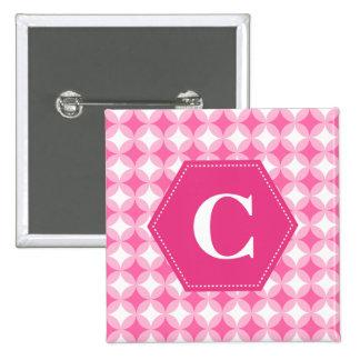 Pink White Monogram Pattern Button