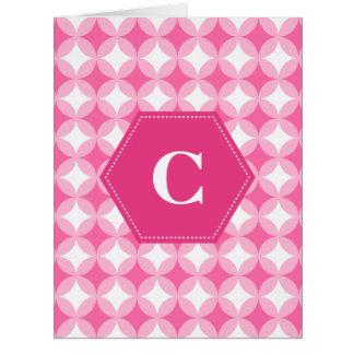 Pink White Monogram Pattern Card