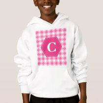 Pink White Monogram Pattern Hoodie