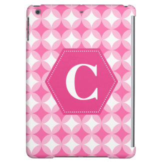 Pink White Monogram Pattern iPad Air Cover