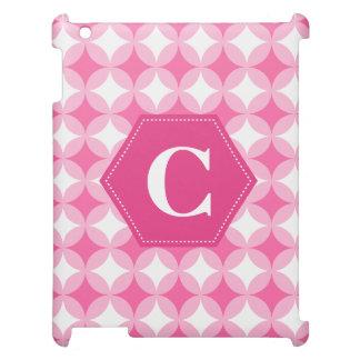 Pink White Monogram Pattern iPad Case