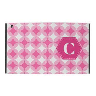 Pink White Monogram Pattern iPad Folio Case