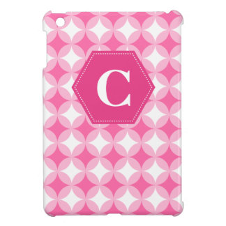Pink White Monogram Pattern iPad Mini Case