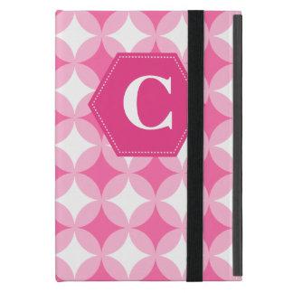 Pink White Monogram Pattern iPad Mini Cover
