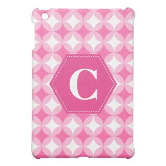 Pink White Monogram Pattern iPad Mini Covers