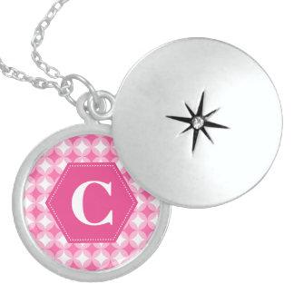 Pink White Monogram Pattern Round Locket Necklace