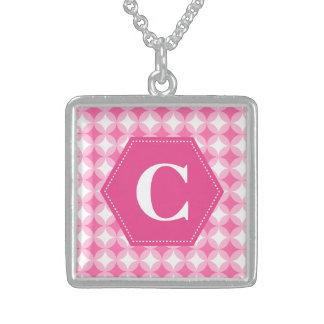 Pink White Monogram Pattern Square Pendant Necklace