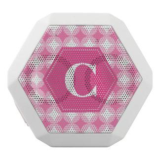 Pink White Monogram Pattern White Bluetooth Speaker