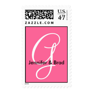 Pink White Monogram with Bride Groom Names Postage