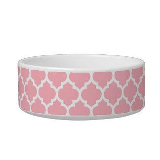 Pink White Moroccan Quatrefoil Pattern #5 Cat Food Bowl