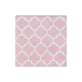 Pink White Moroccan Quatrefoil Pattern #5 Stone Magnet