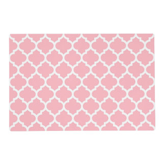 Pink White Moroccan Quatrefoil Pattern #5 Laminated Placemat