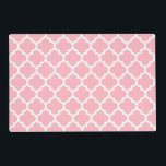 "Pink White Moroccan Quatrefoil Pattern #5 Placemat<br><div class=""desc"">Pink and White Moroccan Quatrefoil Trellis Pattern #5  
