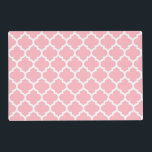 """Pink White Moroccan Quatrefoil Pattern #5 Placemat<br><div class=""""desc"""">Pink and White Moroccan Quatrefoil Trellis Pattern #5    You can customize this with your own text and / or images if you so choose to make your own unique design.    If you would like this design in other colors,  just drop us an email.    2014 &#169;FantabulousPatterns All rights reserved</div>"""