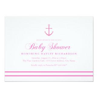 Pink & White Nautical Baby Shower Invite