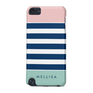 Pink White Navy Mint Stripes - Simple Elegant iPod Touch (5th Generation) Cases