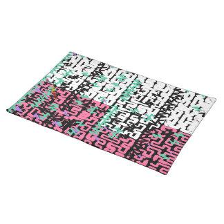 Pink White Noodles Green Black Pattern Placemat