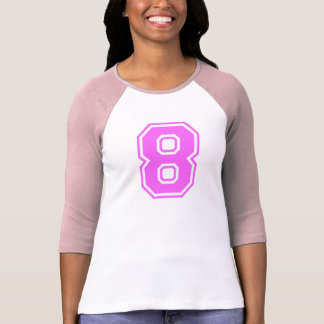 PINK & WHITE NUMBER 8 T SHIRT