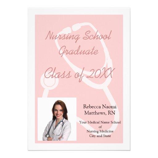 Pink/White Nursing School PGraduation Announcement