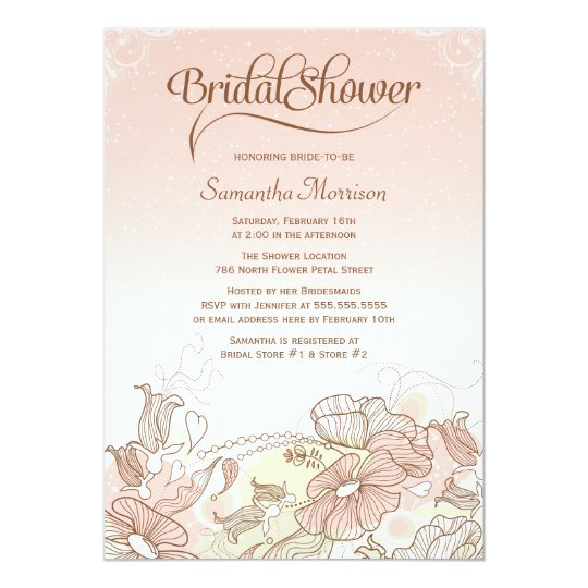 Pink & white ombre floral bridal shower invitation