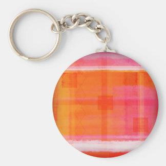Pink White Orange stripes Basic Round Button Keychain