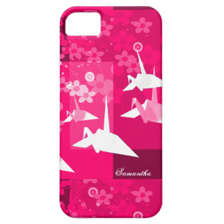 Pink & White Origami Cranes and Blossoms iPhone SE/5/5s Case