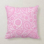 Pink White Paisley Floral Pillow