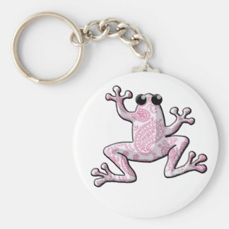 Pink White Paisley Frog Keychain