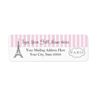 Pink | White Paris Eiffel Tower Name Label