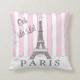 Pink   White Paris Eiffel Tower Ooh La La Throw Pillow