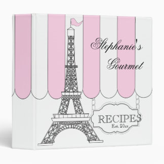 Pink | White Paris Eiffel Tower Recipe 3 Ring Binder