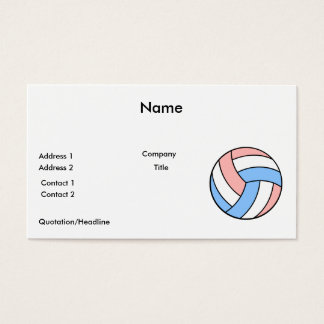 pink white pastel blue volleyball business card