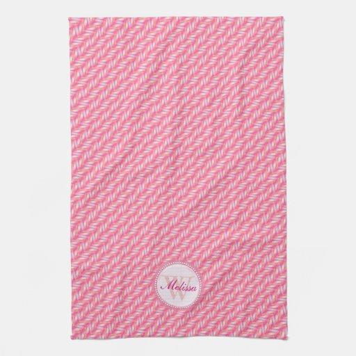 Pink Amp White Pattern Kitchen Dish Cloth Hand Towels Zazzle
