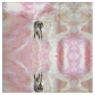 Pink White Peach Wolf fabric, non toxic ink Fabric