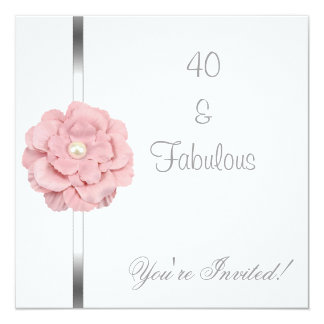 Pink White Pearl Flower Fabulous 40th Birthday Custom Announcements