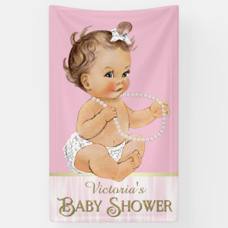Pink White Pearls Girl Baby Shower Banner