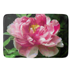 Pink White Peony Watercolor Fine Floral Bathroom Mat at Zazzle