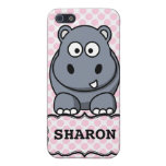 Pink White Personalized Cute Hippo Clipart Cover For iPhone 5