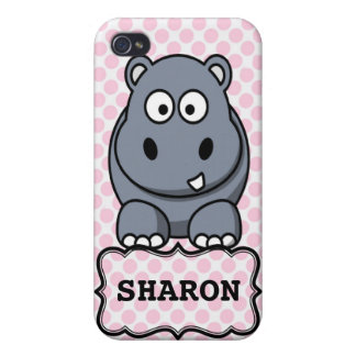 Pink White Personalized Cute Hippo Clipart iPhone 4 Covers