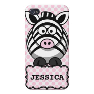 Pink White Personalized Cute Zebra Clipart Cases For iPhone 4