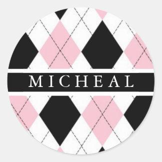 Pink & White Personalized Monogram Envelope Seal Classic Round Sticker