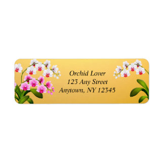Pink White Phalaenopsis Orchid Flowers Labels