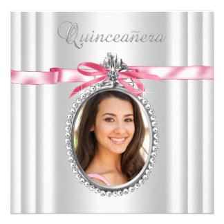 Pink White Photo Quinceanera Personalized Announcement